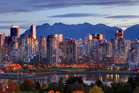 Mandatory Credit: Photo by Design Pics Inc/REX (1960285a) View of skyline with Yaletown, False Creek and North Shore Mountains, site of 2010 Winter Olympics, Vancouver, British Columbia VARIOUS