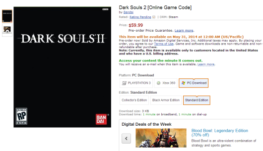 Amazon lists Dark Souls 2 for PC release date as May 31