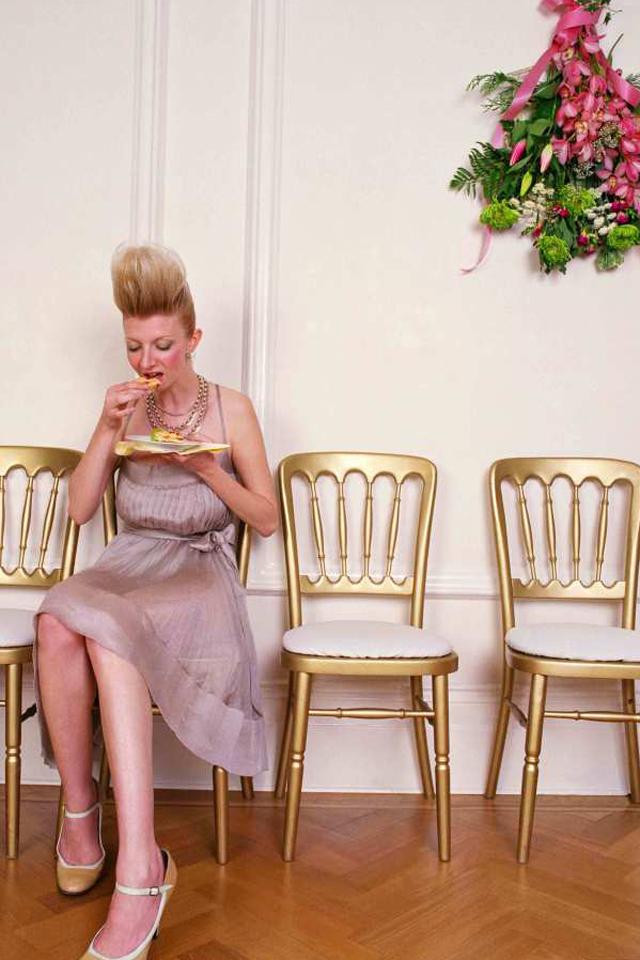 Single woman at wedding