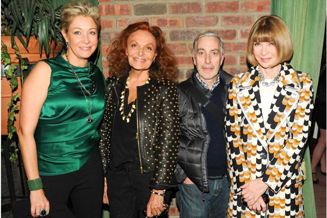 Mandatory Credit: Photo by Billy Farrell/BFAnyc.com/REX (3640469p) Nadja Swarovski, Diane von Furstenberg, Paul Cavaco and Anna Wintour CFDA Fashion Awards Nominee Announcement Party, New York, America - 11 Mar 2014