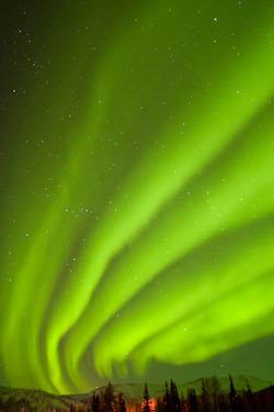 CX59GY USA, Alaska, Fairbanks, Chena Hot Springs Lodge. Aurora borealis or northern lights fill the night sky.
