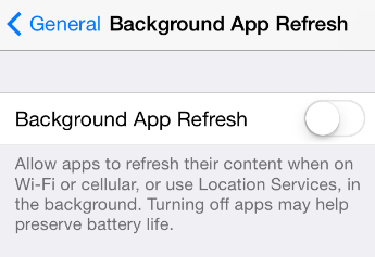 background app refresh switch in settings
