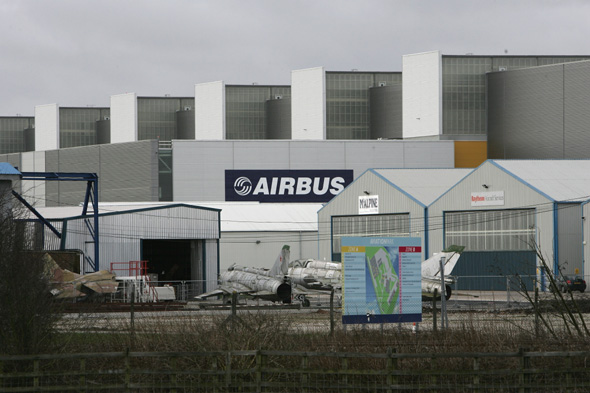 CHESTER, UNITED KINGDOM - FEBRUARY 28:  The aircraft wing production facilities at Broughton, North Wales, of troubled aircraft maker Airbus where workers are waiting for the announcement of up to 10,000 job losses at key operating sites across Europe on February 28, 2007, Broughton, Wales. Workers in France and Germany are set to take most of the cuts, although 1,500 job losses are expected at Airbus plants in Britain and 500 in Spain.  (Photo by Christopher Furlong/Getty Images)