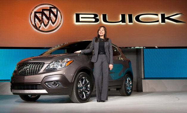 GM's Mary Barra with Buick Encore at reveal