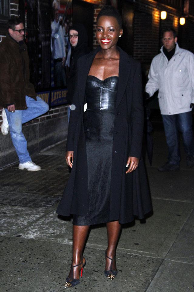 NEW YORK, NY - FEBRUARY 19: Lupita Nyong'o leaves the