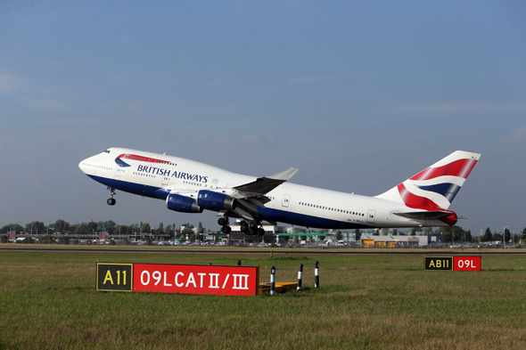 Embargoed to 0001 Wednesday November 6 File photo dated 24/09/13 of a British Airways plane taking off at Heathrow Airport as BA short-haul services have the quietest planes at Heathrow , according to the first list of airline noise performance at the airport.