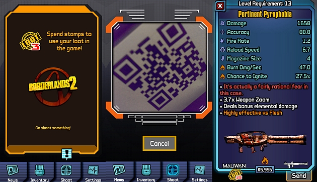 Borderlands 2 mobile app turns QR codes into absurd in-game