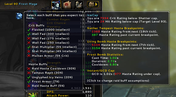 Display of statistics as shown in the addon Icecap.