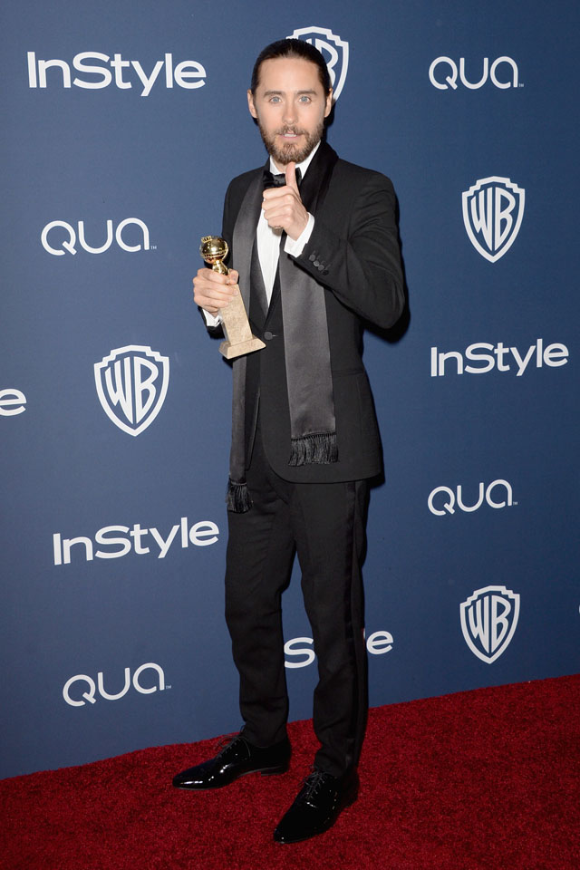 BEVERLY HILLS, CA - JANUARY 12:  Actor Jared Leto, winner of Best Supporting Actor in a Motion Picture - Drama, Musical or Comedy for 'Dallas Buyers Club,' attends the 2014 InStyle and Warner Bros. 71st Annual Golden Globe Awards Post-Party on January 12, 2014 in Beverly Hills, California.  (Photo by Jason Merritt/Getty Images)