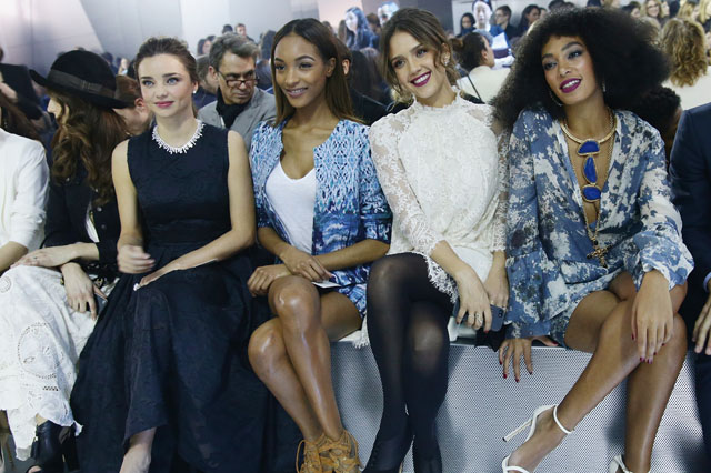 PARIS, FRANCE - FEBRUARY 26:  Miranda Kerr, Jourdan Dunn, Jessica Alba, Solange Knowles attend the H&M show as part of the Paris Fashion Week Womenswear Fall/Winter 2014-2015 at Le Grand Palais on February 26, 2014 in Paris, France.  (Photo by Vittorio Zunino Celotto/Getty Images)