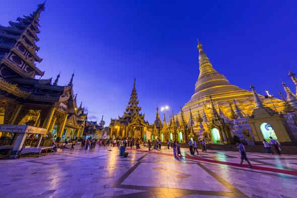 Mandatory Credit: Photo by ZUMA/REX (2591559i) Shwedagon Pagoda, Rangoon, Burma  - The Shwedagon Pagoda is officially known as Shwedagon Zedi Daw and is also called the Great Dagon Pagoda or the Golden Pagoda. Rangoon, Burma - Jun 2013