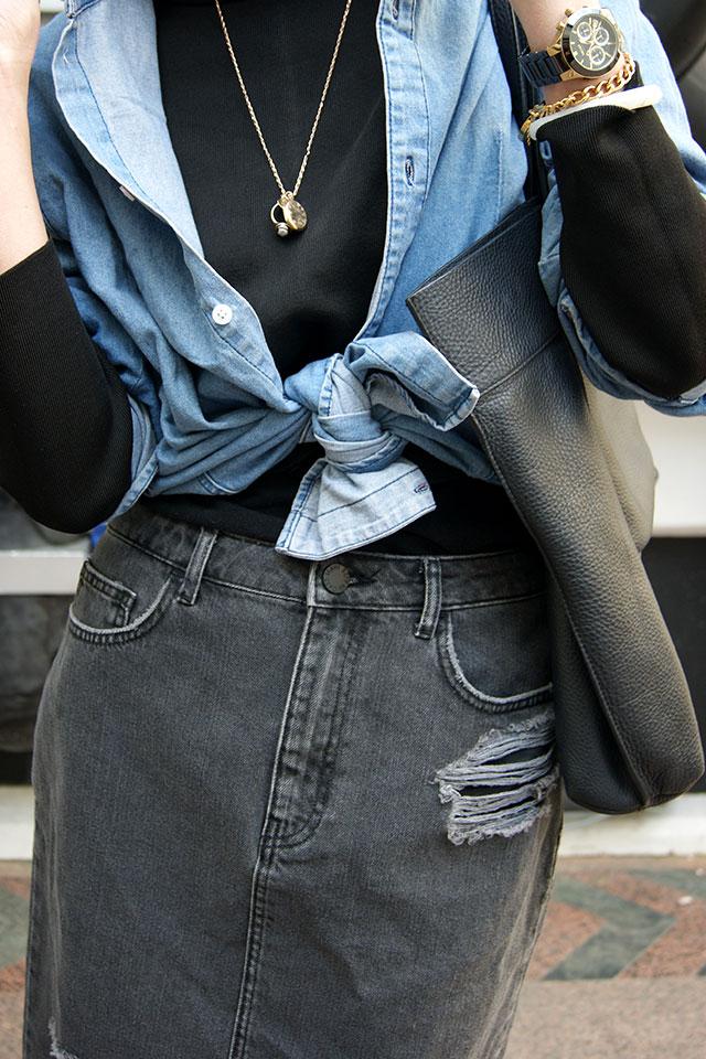 how to wear double denim