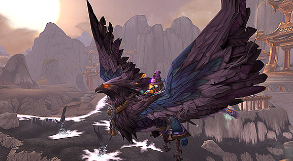 A draenei mage sits on a violet phoenix