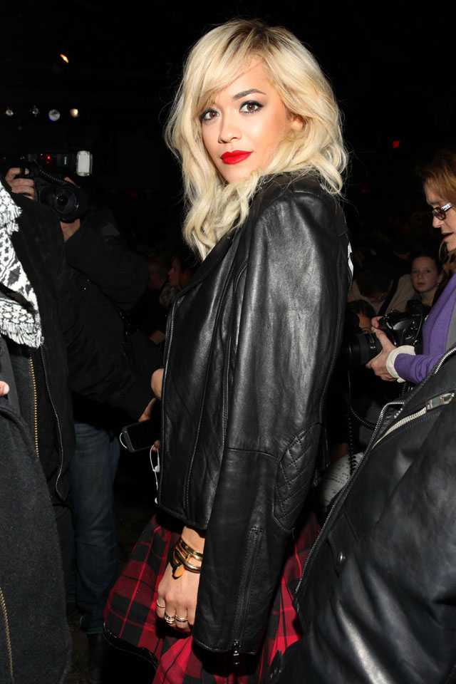 Singer Rita Ora attends DKNY Fall 2014 fashion show during Mercedes-Benz Fashion Week on Sunday, Feb. 9, 2014 in New York. (Photo by Omar Vega/Invision/AP)