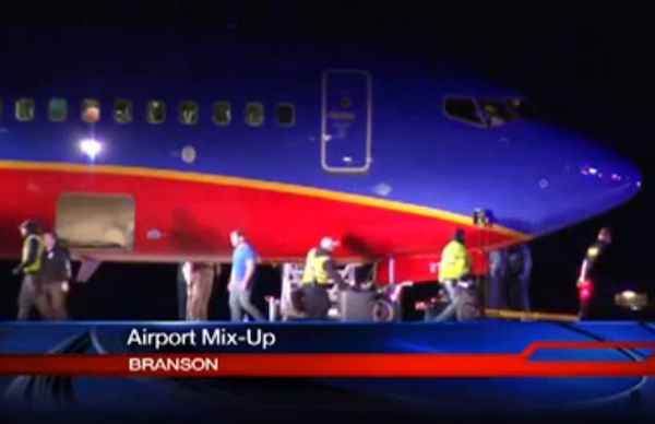 This frame grab provided by KSPR-TV shows a Southwest Airlines flight that was scheduled to arrive Sunday Jan. 12, 2014, at Branson Airport in southwest Missouri instead landed at an airport 7 miles north ? with a runway about half the size of the intended destination. (AP Photo/KSPR-TV)