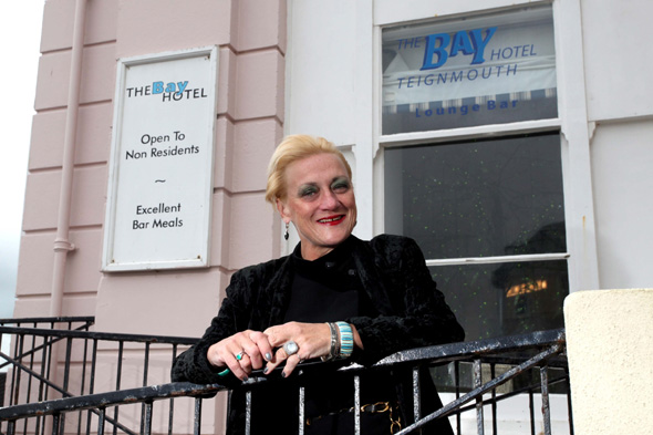 Shirley Bothroyd, owner of The Bay Hotel in Teignmouth, Devon. See SWNS story SWBASIL; A lady barrister who hung up her wig to run a pretty seafront hotel has been branded a female BASIL FAWLTY on Trip Advisor - for being drunk and abusive to staff. Shirley Bothroyd, 55 - dubbed the