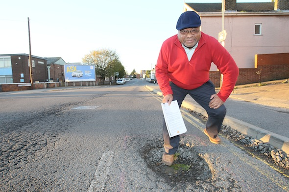 FROM JOHN JEFFAY AT CASCADE NEWS LTD    0161 660 8087 /  07771 957773  john@cascadenews.co.uk  Syndicated for Colchester Gazette  Frank Cattarall, standing in one of the pot holes in Greenstead Road that ruined his car    MOTORIST Frank Cattrall used a Freedom of Information request to win a payout for pothole damage to his car. . Essex County Council had refused to pay £500 bill for repairs ? claiming they hadn?t known about a 6in deep hole. But Frank, 62, turned detective, discovered that a council worker had reported the hole three months earlier, and took them to court. He?d driven over a hole in Greenstead Road, Colchester, Essex, wrecking his Renault?s suspension.  The county council refused to accept responsibility for the 18ins and 6ins deep hole ? even though a council worker had reported the hole three months earlier.
