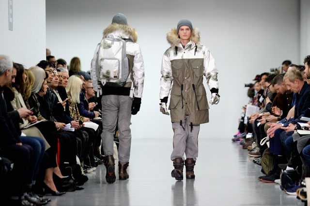 LONDON, ENGLAND - JANUARY 07:  A model walks the runway at the Christopher Raeburn show during The London Collections: Men Autumn/Winter 2014 on January 7, 2014 in London, England.  (Photo by Stuart C. Wilson/Getty Images)