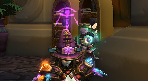 A mage sitting wearing mage challenge mode gear with an arcane eye projected over her head