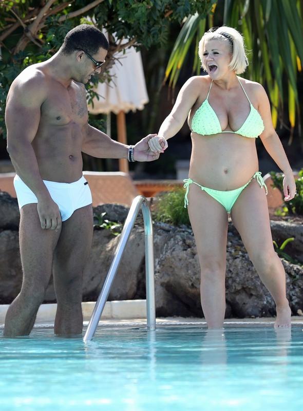 Pregnant Kerry Katona in a bikini in Tenerife with fiance George Kay
