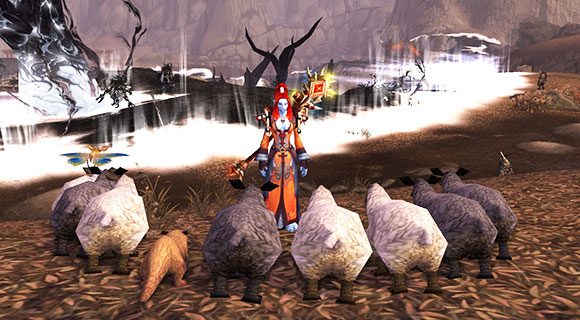 A troll mage stands in front of a flock of sheep.
