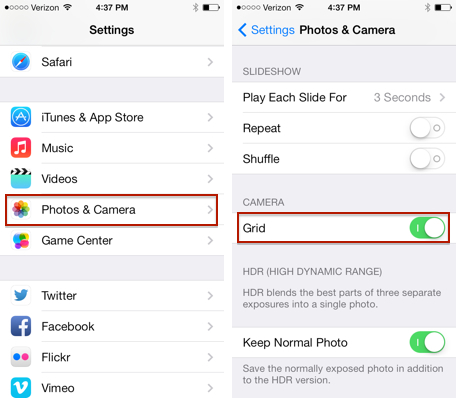 iphone camera settings how to turn on the grid lines in the ios 7 app 3192