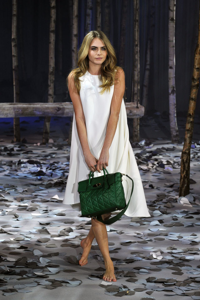 75ae4407d92d Cara Delevingne models The Cara Delevingne Collection created by Mulberry  at London Fashion Week Autumn