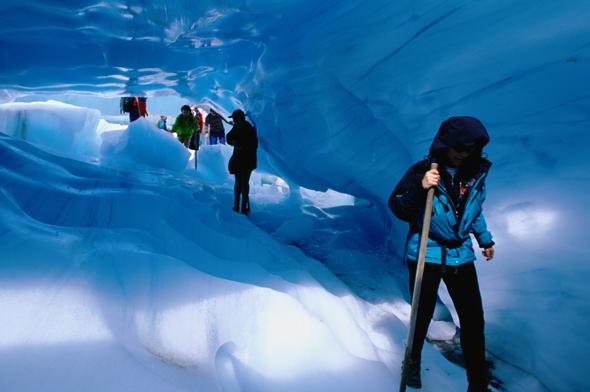 Trekking inside glacier.