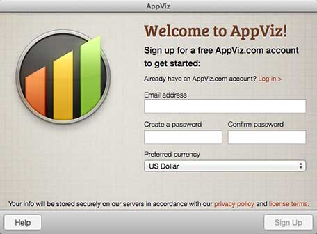 AppViz sign in screen