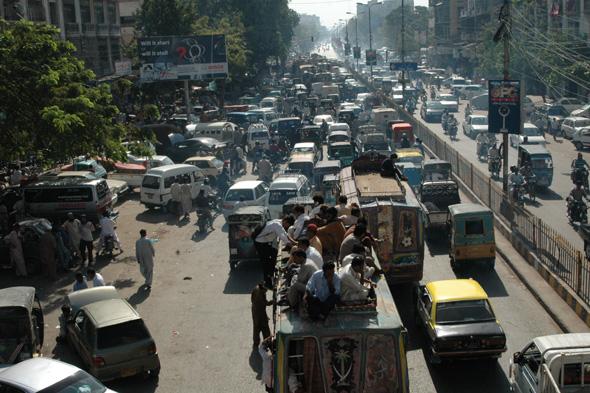 Mandatory Credit: Photo by Ilyas J Dean/REX (2293378h) Famously typical traffic jam in Karachi Karachi, Pakistan - Mar 2013