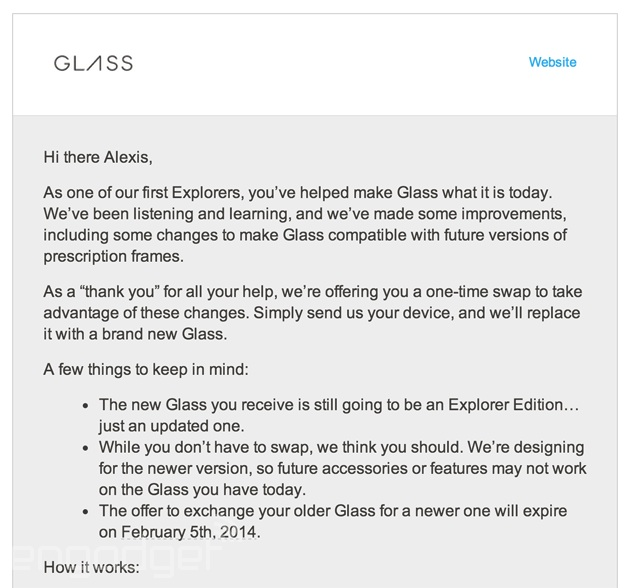 Google Glass upgrade invitation - top