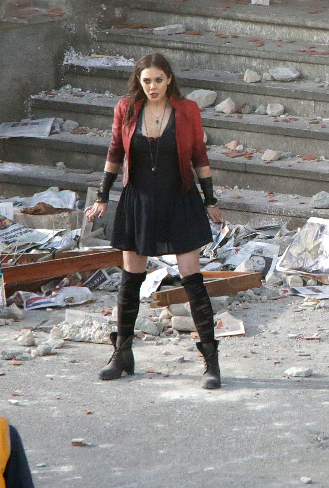 First Look Scarlet Witch  Quicksilver on the Set of Avengers 2
