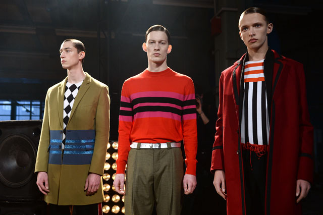 LONDON, ENGLAND - JANUARY 06:  Models pose at the Jonathan Saunders presentation during The London Collections: Men Autumn/Winter 2014 on January 6, 2014 in London, England.  (Photo by Ian Gavan/Getty Images)