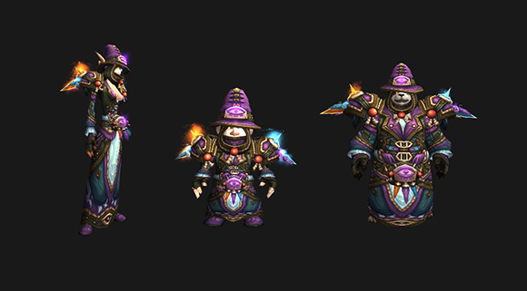 Three mages stand in a line wearing challenge mode mage gear, a female blood elf, a male gnome, and a male pandaren.