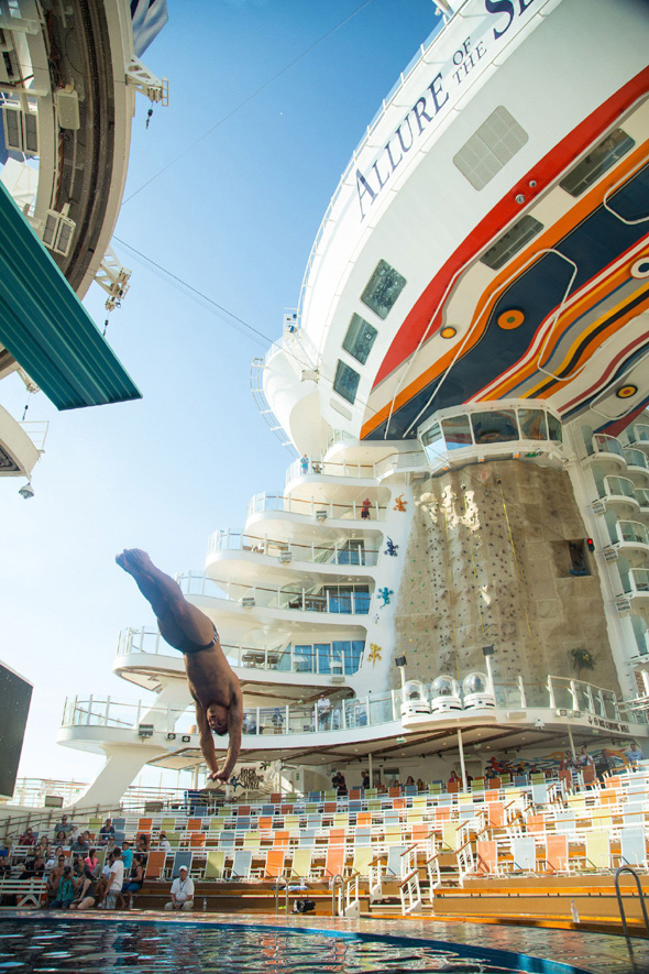 Photos of topless Tom Daley diving on Royal Caribbean cruise ship