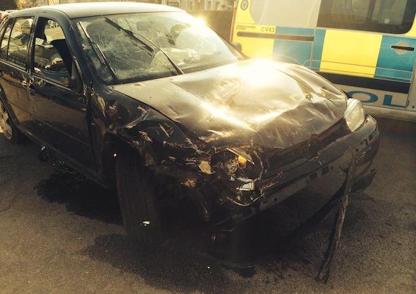 Smashed VW Golf