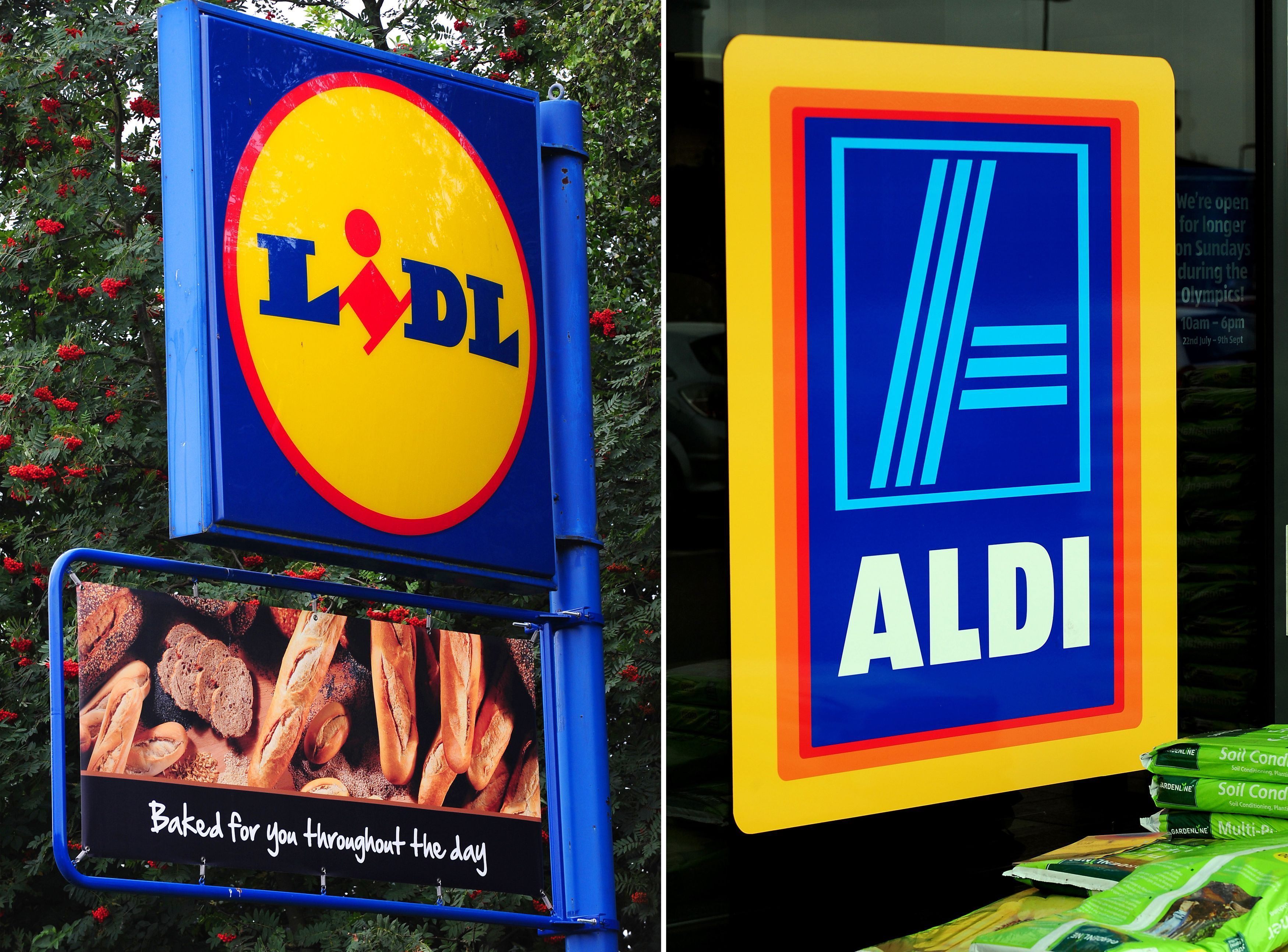 File photos of a Lidl sign (left) and an Aldi sign (right) as they have increased their market share over the Christmas period as ?1 in every ?14 in grocery spending went to the discount retailers. PRESS ASSOCIATION Photo. Issue date: Tuesday January 14, 2014. The two brands took a 7.1% share over the 12 weeks to January 5 compared to 5.8% the year before, with Aldi increasing total sales to more than ?1 billion. See PA story CITY Supermarket. Photo credit should read: Rui Vieira/PA Wire