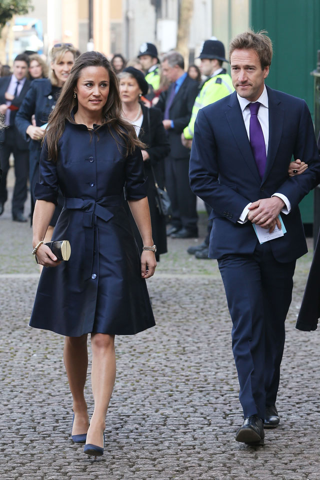 LONDON, ENGLAND - MARCH 13:  Pippa Middleton (L) and Ben Fogle (R) attend a memorial service for Sir David Frost at Westminster Abbey on March 13, 2014 in London, England.  (Photo by Chris Jackson/Getty Images)