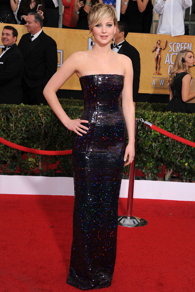 LOS ANGELES, CA - JANUARY 18:  Jennifer Lawrence arrivals at the 20th Annual Screen Actors Guild Awards at The Shrine Auditorium on January 18, 2014 in Los Angeles, California.  (Photo by Steve Granitz/WireImage)
