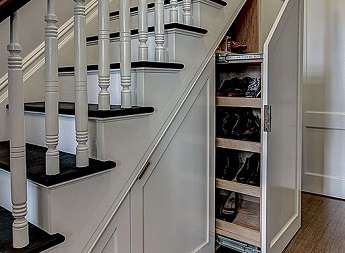 slide out shoe shelf under stairs