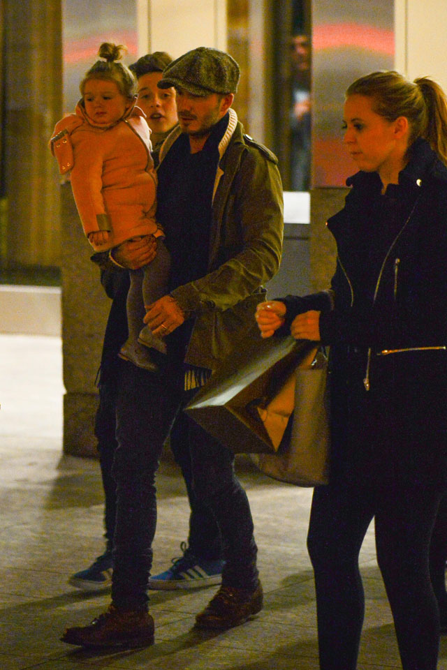 EXCLUSIVE: David Beckham takes his kids out for dinner at Nobu while holding on to Harper and followed by Brooklyn while a unknown blonde women chokes Romeo Beckham  <P> Pictured: David Beckham, Harper Beckham and Brooklyn Beckham <P><B>Ref: SPL695961  080214   EXCLUSIVE</B><BR/> Picture by: Marquez / Splash News<BR/> </P><P> <B>Splash News and Pictures</B><BR/> Los Angeles: 310-821-2666<BR/> New York: 212-619-2666<BR/> London: 870-934-2666<BR/> photodesk@splashnews.com<BR/> </P>