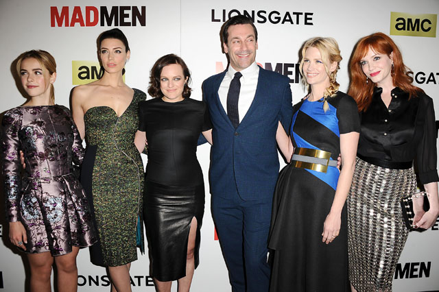HOLLYWOOD, CA - APRIL 02:  (L-R) Kiernan Shipka, Jessica Pare, Elisabeth Moss, Jon Hamm, January Jones and Christina Hendricks attend the season 7 premiere of