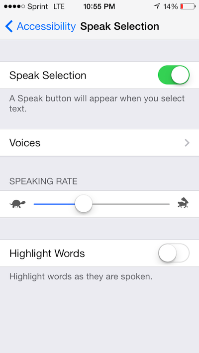 Speak Selection iOS