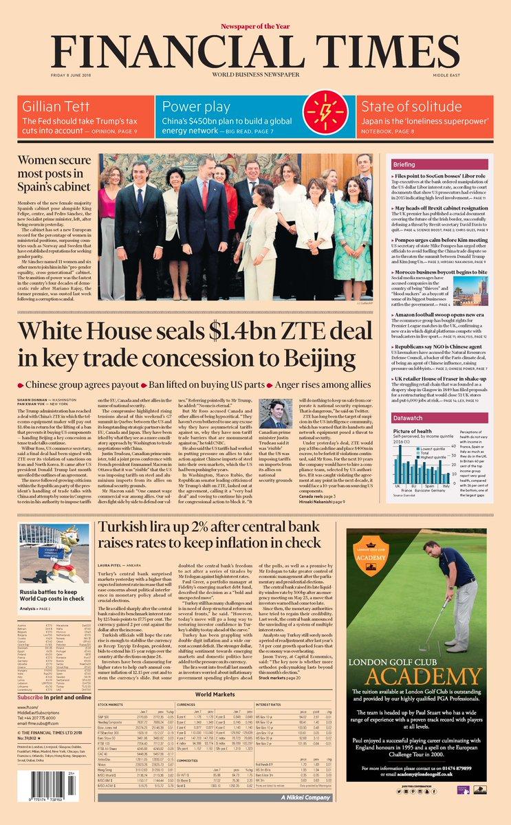 La portada del 'Financial Times' sobre el Gobierno feminista de