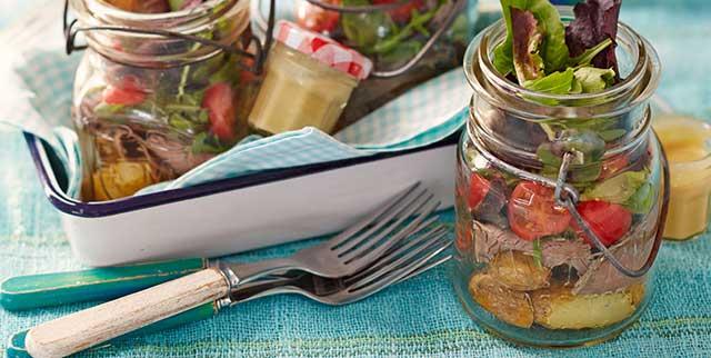 Roast beef salad jar