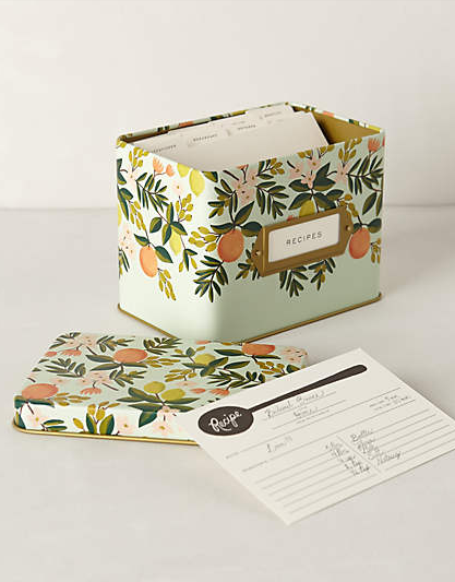 tin floral recipe box