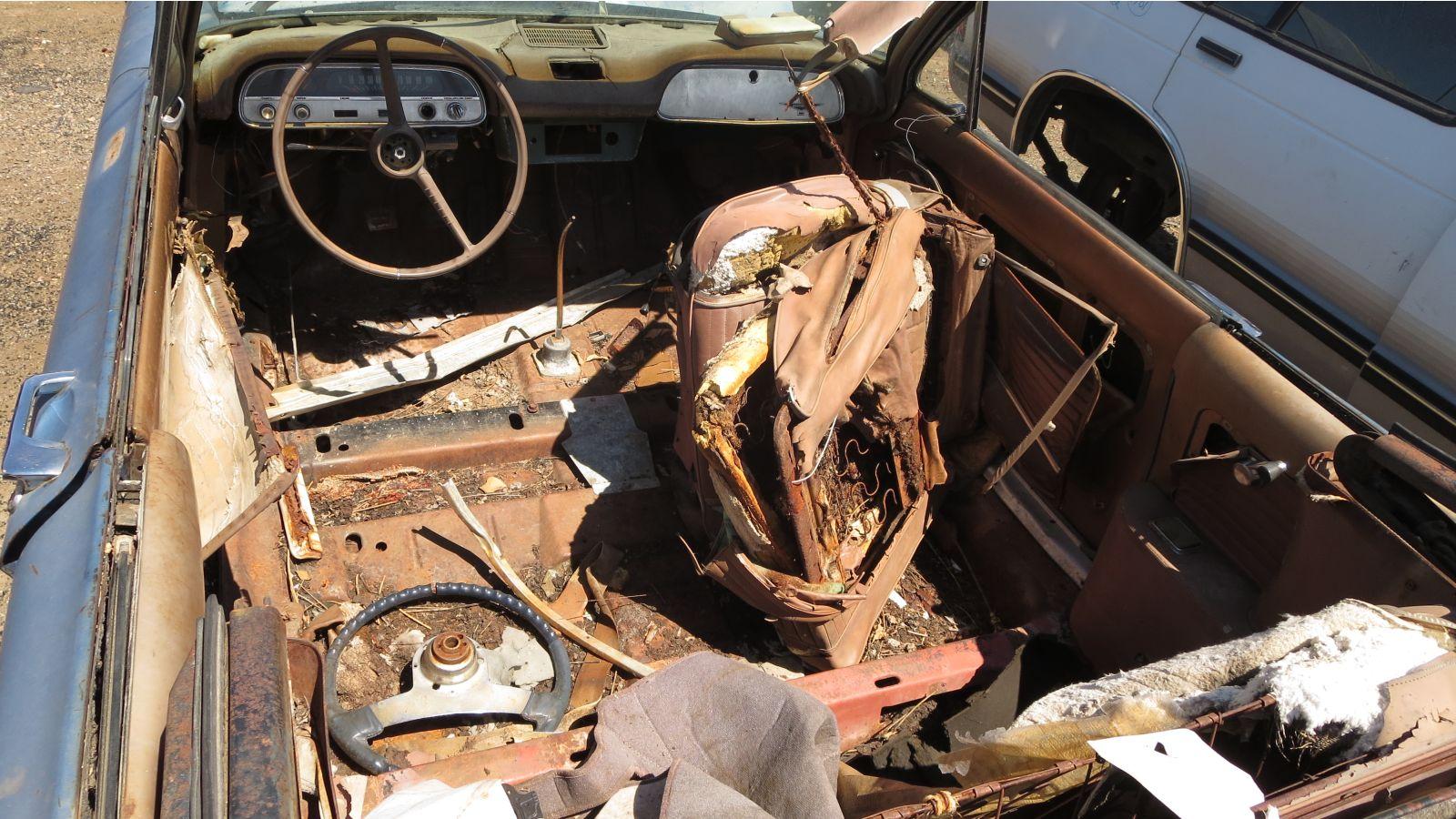 1964 Chevrolet Corvair convertible in Colorado wrecking yard
