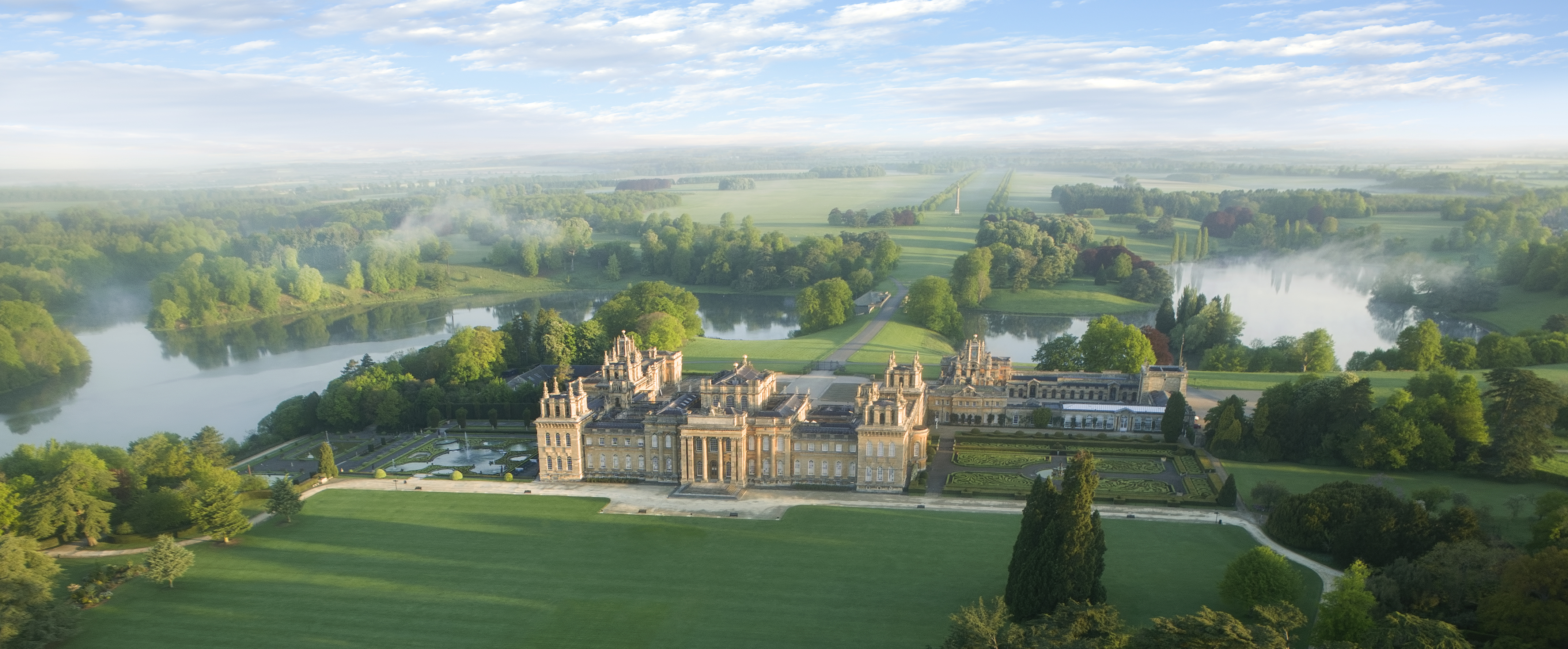 Aerial View Of 18th Century Blenheim Palace And Grounds Garden Designed By Capability Brown