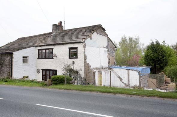 The demolished cottage.