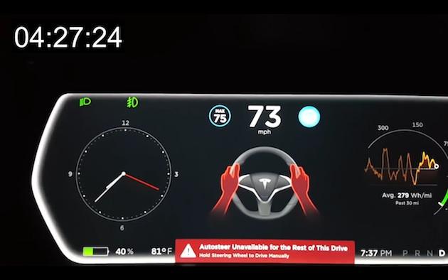 【ビデオ】テスラのオートパイロット、最新版は警告を無視して手放し運転を続けていると機能停止に
